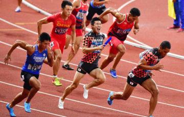 【アジア大会/陸上】男子4×100Mリレーで金メダル!! (山縣亮太・多田修平・桐生祥秀・ケンブリッジ飛鳥)