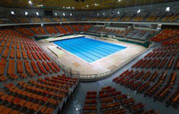 【世界水泳】 全競技会場が公式認証取得=韓国・光州 サッカー場の仮設プールが公認を取得